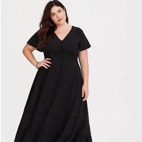bc01eef659d Torrid Black Button Front Challis Maxi Dress Short